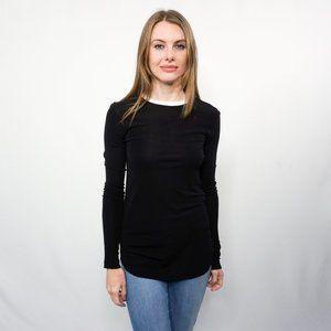 OSKLEN Black Long-Sleeve Top with White Trim